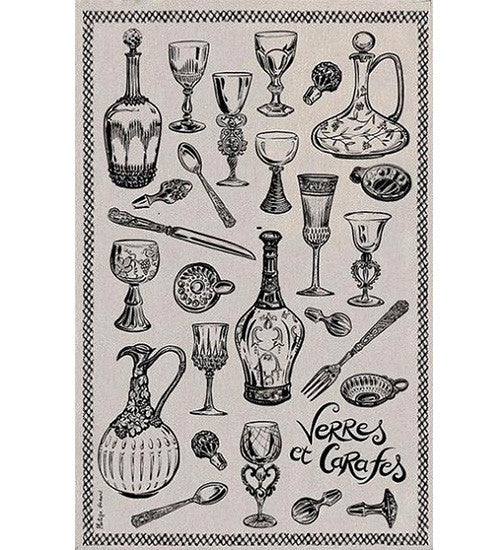 Glasses & Carafes 100% linen kitchen towel