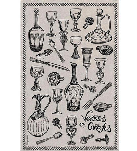 Bordeaux map of vineyards (drawing style) kitchen towel
