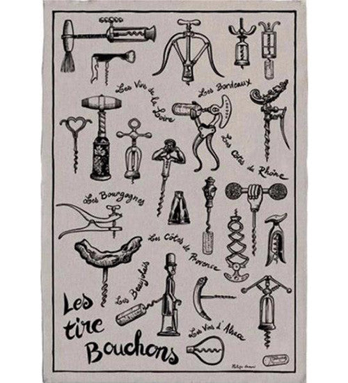 Corkscrews 100% linen kitchen towel (Tire-Bouchons)