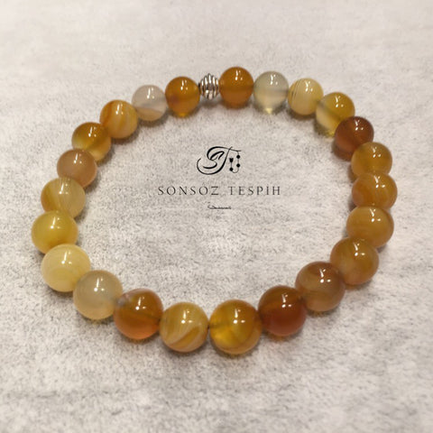 Mens Bracelet With Marble Yellow Agate Stone