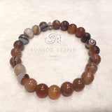 Mens Bracelet With Marble Brown Agate Stone