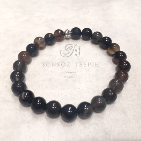 Mens Bracelet With Marble Black Agate Stone