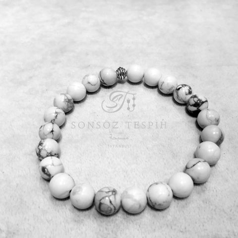 Mens Bracelet With White Weathered Stones