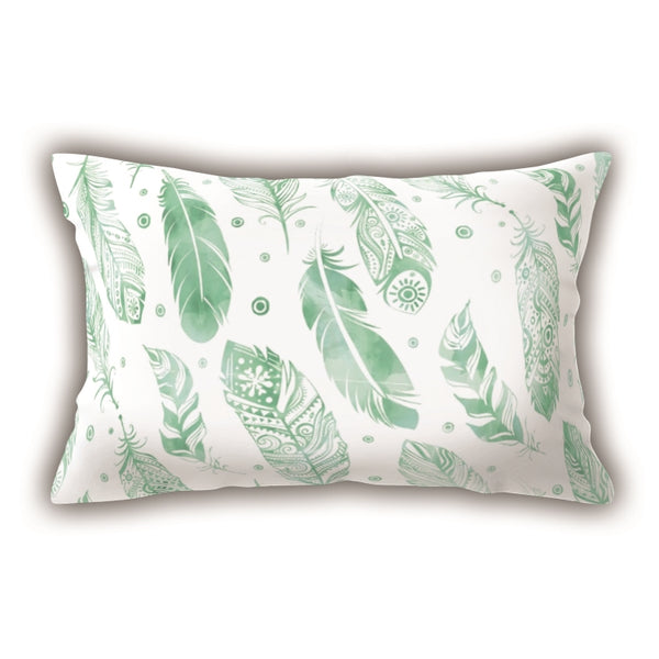 White Feather Patterned Digital Printed Rectangle Pillow