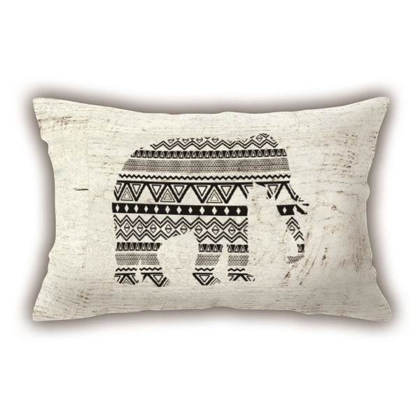 Colorful Elephant Patterned Digital Printed Rectangle Pillow