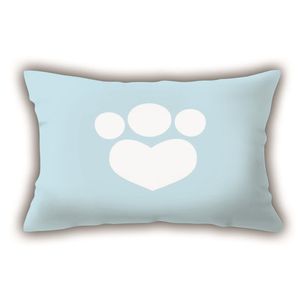 Blue Heart Patterned Digital Printed Rectangle Pillow