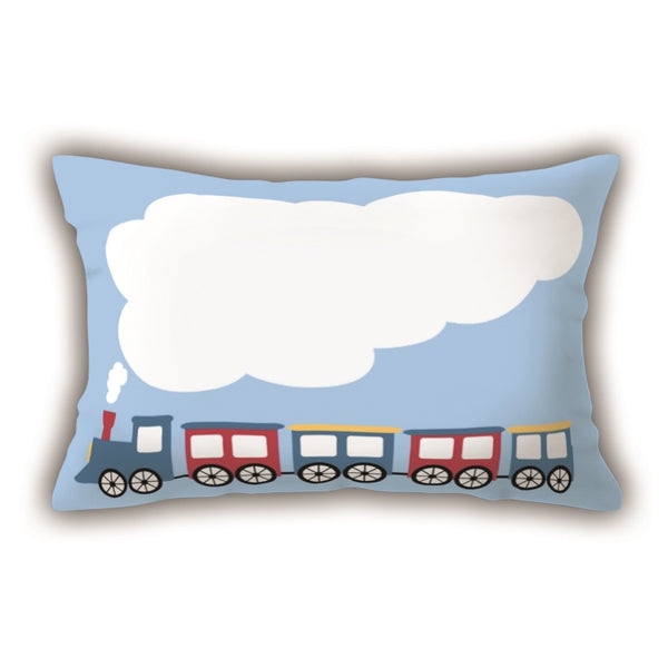 Blue Train Patterned Digital Printed Rectangle Pillow