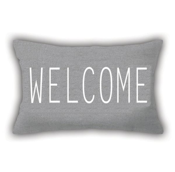 Gray Writing Patterned Digital Printed Square Pillow