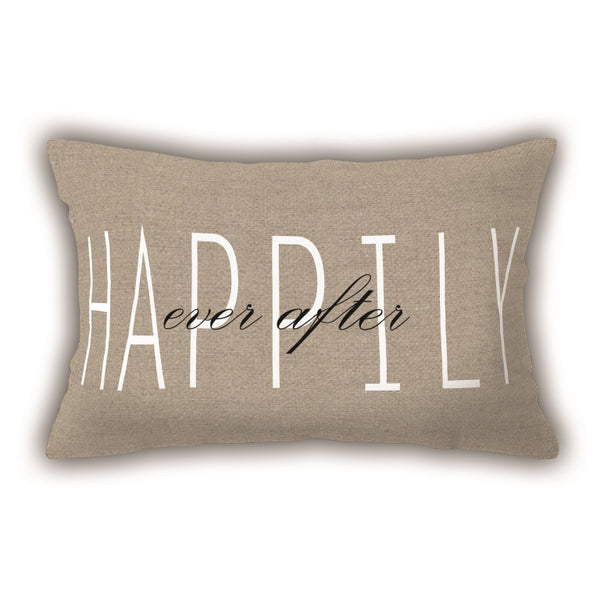 Brown Writing Patterned Digital Printed Pillow