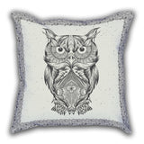 Gray Owl Patterned Digital Printed Square Pillow