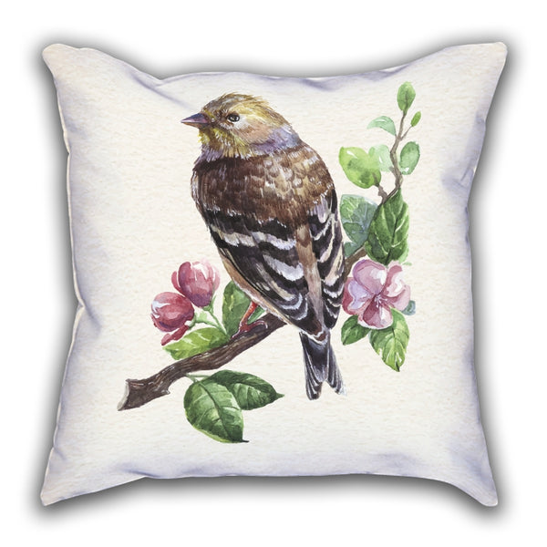 White Bird Patterned Digital Printed Square Pillow