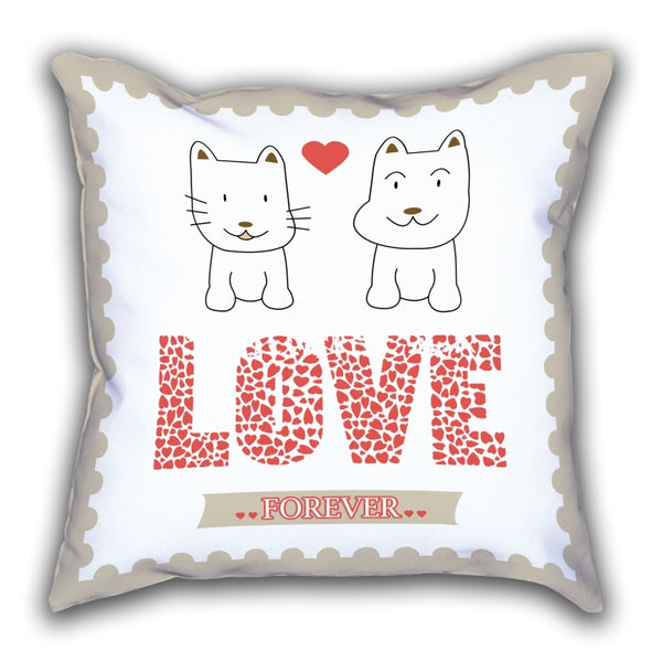White Love Patterned Digital Printed Square Pillow