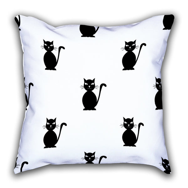 White Cat Patterned Digital Printed Square Pillow