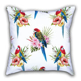 White Color Bird Patterned Digital Printed Square Pillow