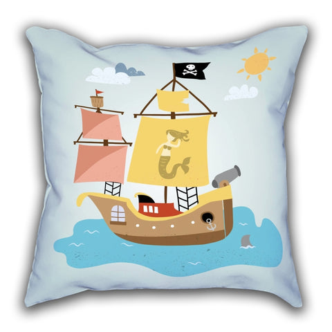Blue Ship Patterned Digital Printed Square Pillow