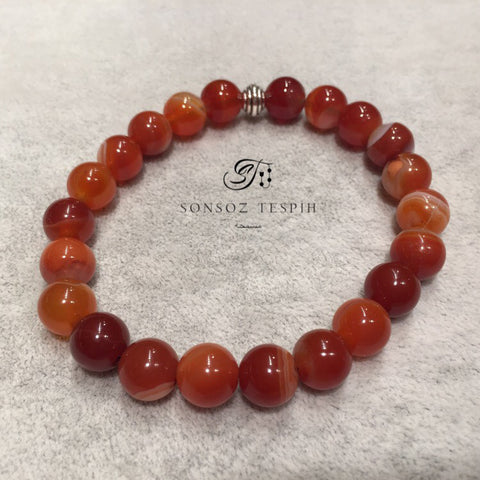 Mens Bracelet With Marble Red Agate Stone