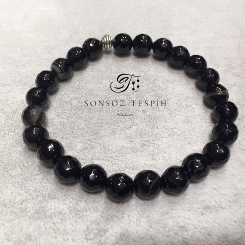 Mens Bracelet With Black Agate Stone