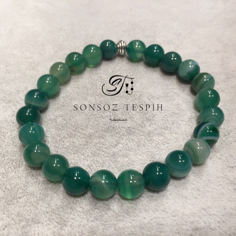 Mens Bracelet With Marble Green Agate Stone