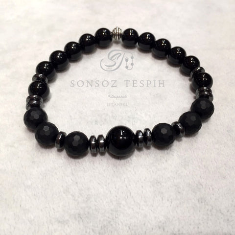 Black Onix Gray Hematite Matte Faced Onix Stoned Mens Bracelet