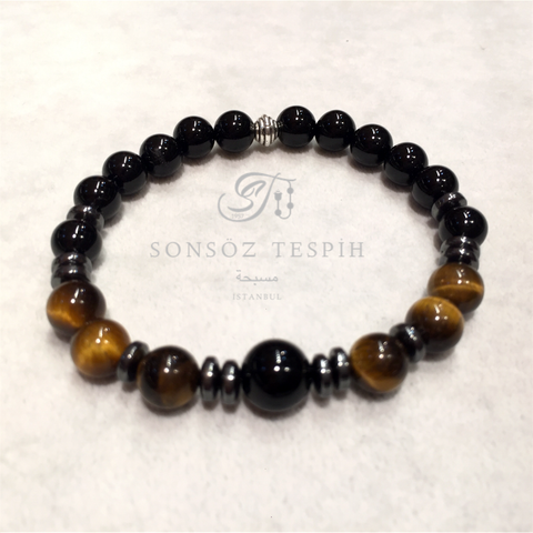Black Onix Gray Hematite Brown Tiger Eye Stone Bracelet