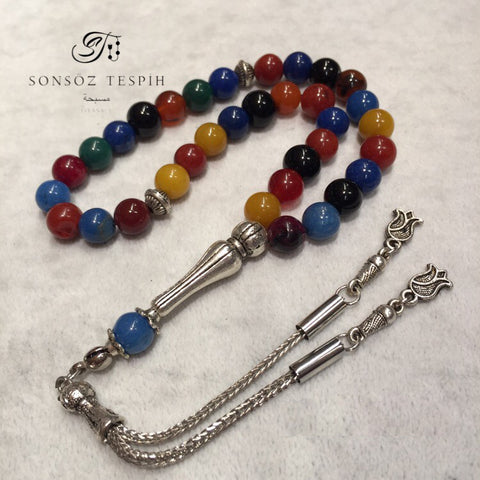 Multicolored Agate And Jade Stone Rosary
