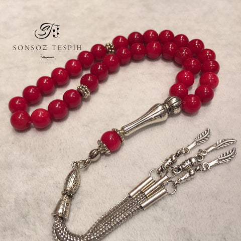 Coral Red Jade Stone Prayer Beads