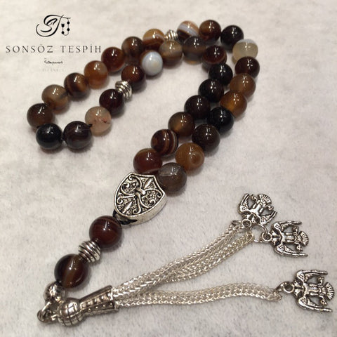 Marble Brown Agate Prayer Beads