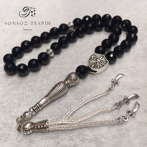 Black Angular Cut Onyx Stony Rosary