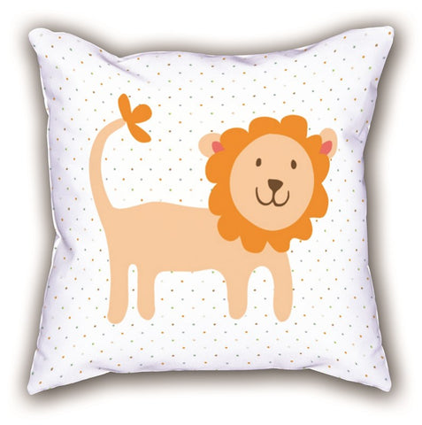 White Lion Patterned Digital Printed Child Pillow