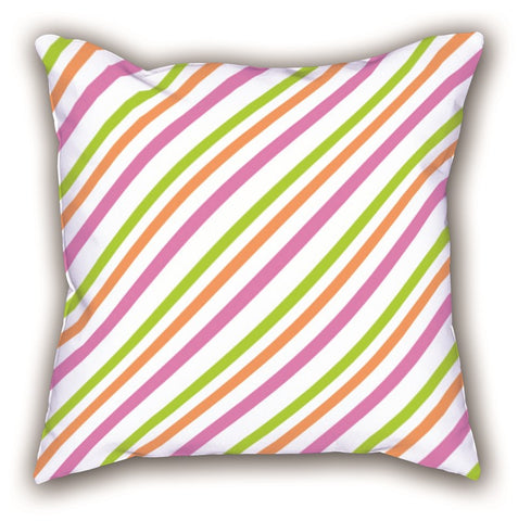 White Line Patterned Digital Printed Square Pillow
