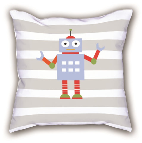 White Robot Patterned Digital Printed Child Pillow
