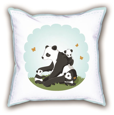 White Panda Themed Digital Printed Child Pillow