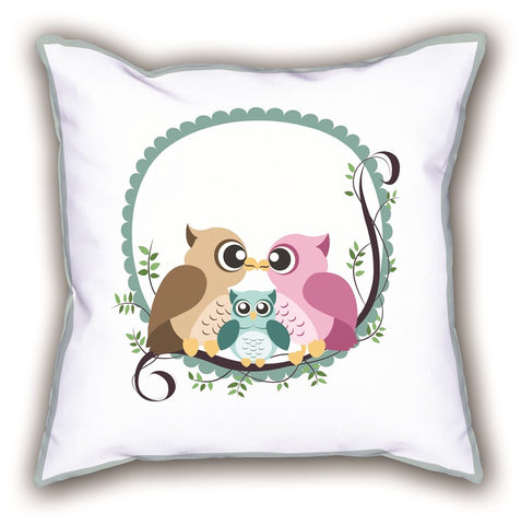 White Owl Themed Digital Printed Child Pillow