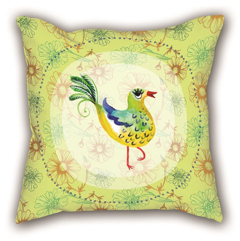 Yellow Swallow Bird Themed Digital Printed Child Pillow