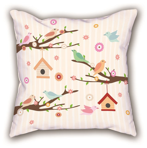 Colorful Bird Themed Digital Printed Child Pillow