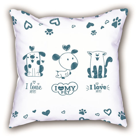White Friendly Themed Digital Printed Child Pillow