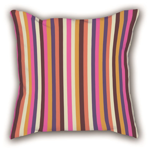 Colored Line Patterned Digital Printed Square Pillow