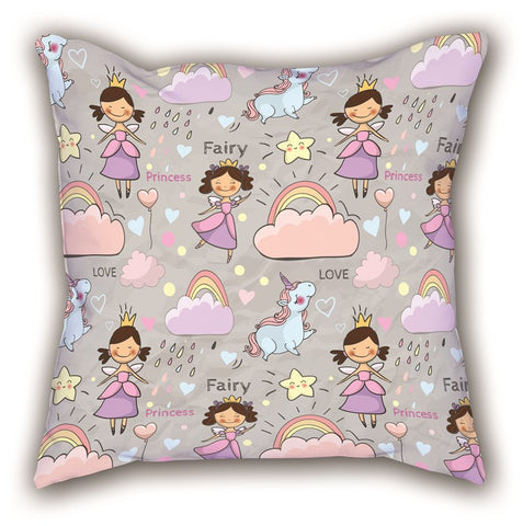 Gray Girl Child Themed Digital Printed Children Pillow