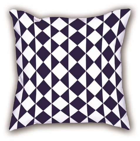 White Geometric Patterned Digital Printed Square Pillow