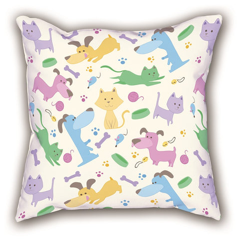 White Friendly Themed Digital Printed Children Pillow