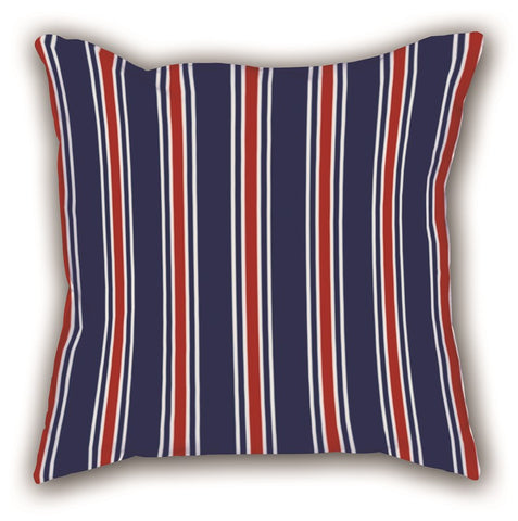 Navy Blue Striped Digital Printed Square Pillow