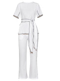 Short Sleeve Belted Slit Blouse& Pants Suit 2 Two Pieces Set shopziy