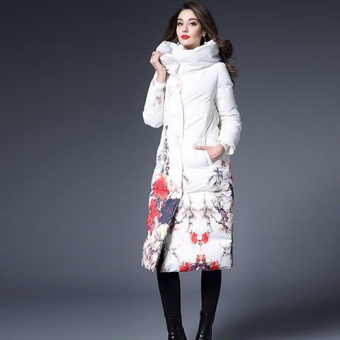 Flower printing  Long slim women Parka Coat White high collar warm Down jackets