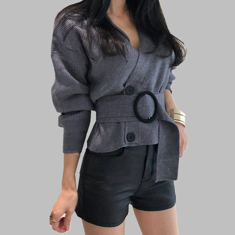 V neck Solid Loose Knitwear Double-breasted Casual Knit Cardigan