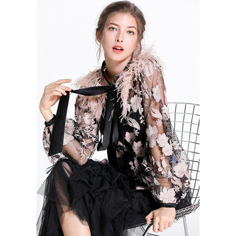 Gauze Women Top Single-breasted Long Sleeve Bow Embroidery See Through Blouse SHOPZIY