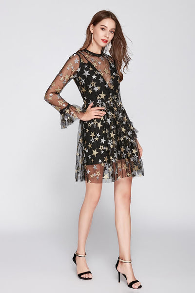Women's O Neck Long Sleeves Embroidery Stars Layered Elegant Dress