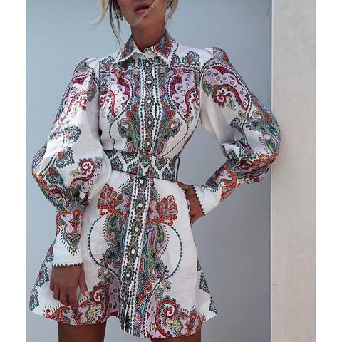 floral print long sleeve mini dress shopziy