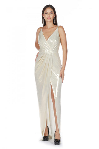 Pierre Cardin Gold Strap Wrap Long Evening Dress