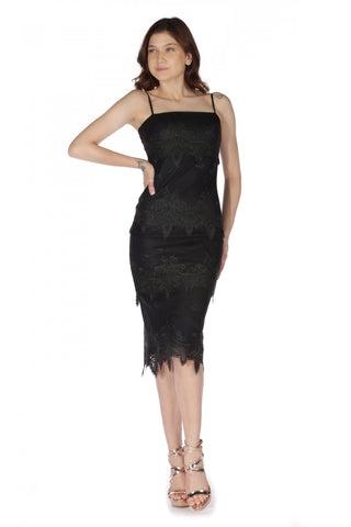 6 Ixty 8 Ight Black Guipure Ruched Short Evening Dress