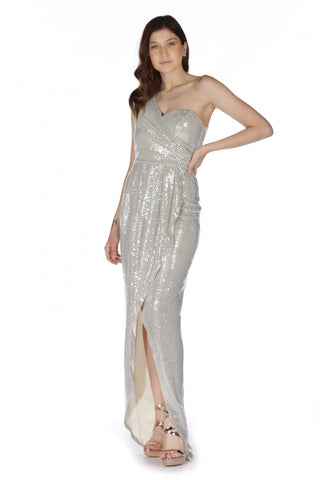 6 Ixty 8 Ight Ecru Silvery One Shoulder Long Evening Dress